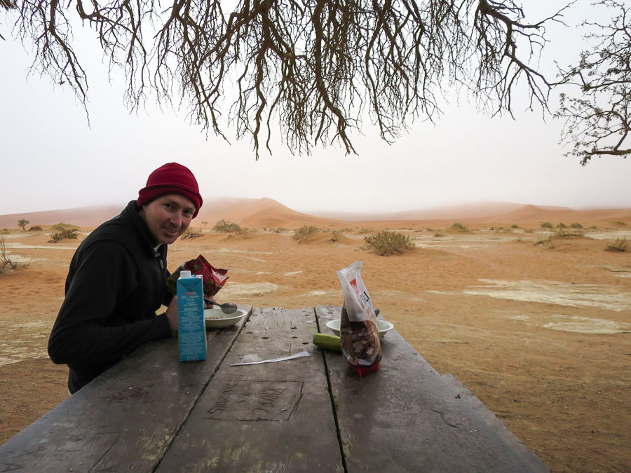 A foggy, solitary breakfast at the 4WD car park at Sossusvlei