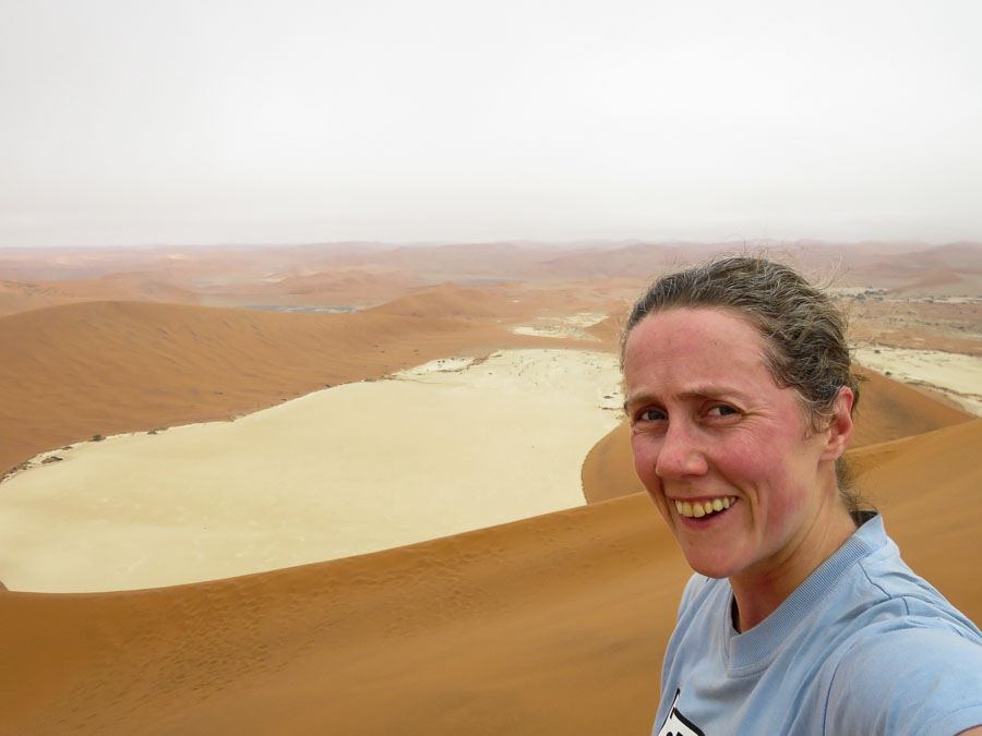 "Looking back at Deadvlei from the top of ""Big Daddy"""