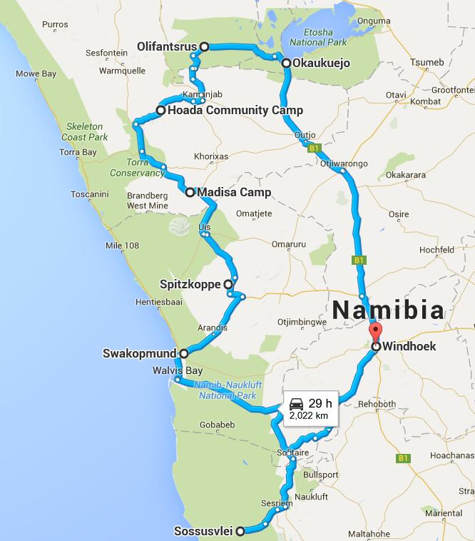 Namibia_route